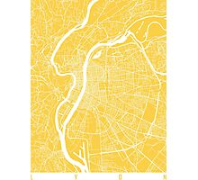 Lyon map yellow Photographic Print