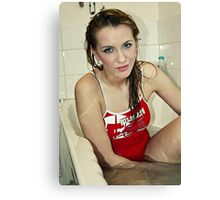Cute Girl in Bath Canvas Print