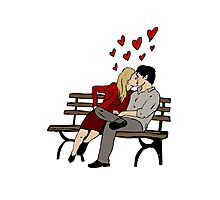 Kissing on chair Photographic Print