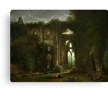 Sketching the Ruins of Tintern Abbey by Samuel Colman. Canvas Print