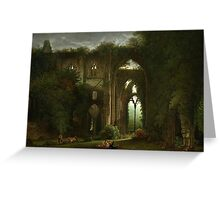 Sketching the Ruins of Tintern Abbey by Samuel Colman. Greeting Card