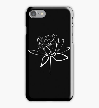 Lotus Flower Calligraphy (White) iPhone Case/Skin