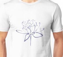 Lotus Flower Calligraphy (Blue) Unisex T-Shirt