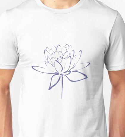 Lotus Flower Calligraphy (Blue) Unisex T-Shirt