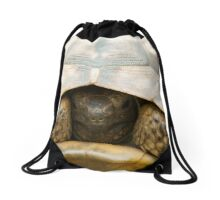 Tortoise hiding its head  Drawstring Bag