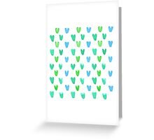 Lovely pattern with green-blue watercolor hearts Greeting Card
