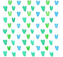 Lovely pattern with green-blue watercolor hearts Photographic Print