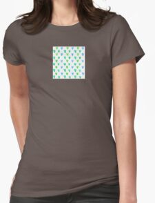 Lovely pattern with green-blue watercolor hearts Womens Fitted T-Shirt