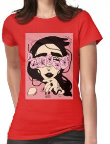 Hide behind the flowers  Womens Fitted T-Shirt
