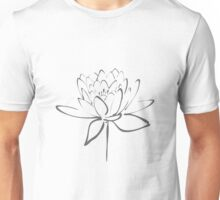 Lotus Flower Calligraphy (Smoke Grey) Unisex T-Shirt