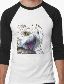 Snowy Owl Doodle Men's Baseball ¾ T-Shirt