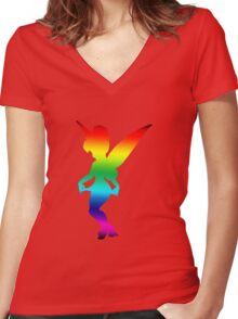 Rainbow Tink Women's Fitted V-Neck T-Shirt