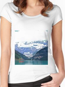 Red Canoes Turquoise Waters Women's Fitted Scoop T-Shirt