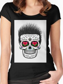 Sugar skull with hair Women's Fitted Scoop T-Shirt