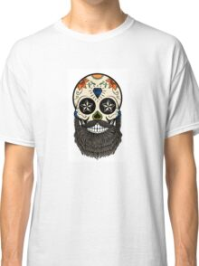 Sugar skull with beard. Classic T-Shirt