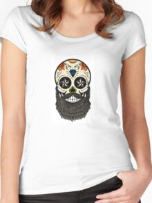 Sugar skull with beard. Women's Fitted Scoop T-Shirt
