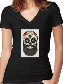 Sugar skull with beard. Women's Fitted V-Neck T-Shirt