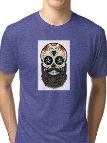 Sugar skull with beard. Tri-blend T-Shirt