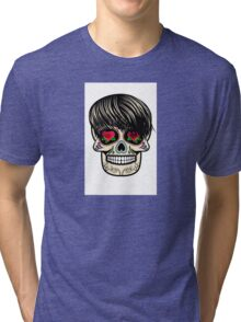 Sugar skull with hair Tri-blend T-Shirt