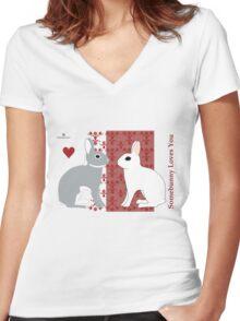 Somebunny Loves You Women's Fitted V-Neck T-Shirt