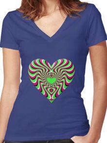 Burning Heart Women's Fitted V-Neck T-Shirt