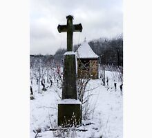Religious cross in winter snowy vineyard, Alsace, France Classic T-Shirt
