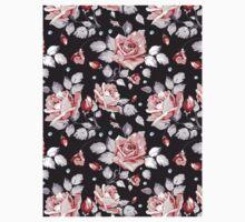 Stylish Vintage Pink Floral Pattern One Piece - Short Sleeve