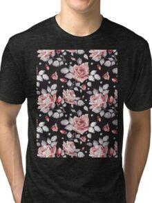 Stylish Vintage Pink Floral Pattern Tri-blend T-Shirt