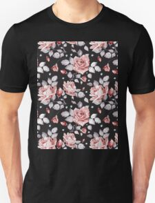 Stylish Vintage Pink Floral Pattern T-Shirt