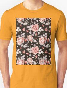 Stylish Vintage Pink Floral Pattern Unisex T-Shirt