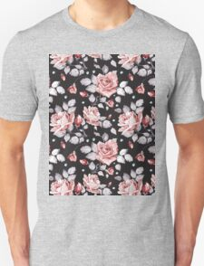 Stylish Vintage Pink Floral Pattern Unisex T-Shirt