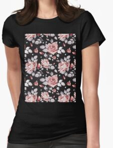 Stylish Vintage Pink Floral Pattern Womens Fitted T-Shirt