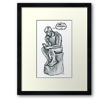 The thinking man with cell phone Framed Print