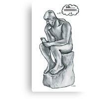 The thinking man with cell phone Canvas Print