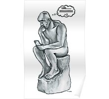 The thinking man with cell phone Poster