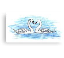 Loveheart Swans Canvas Print