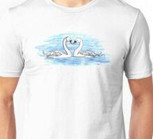 Loveheart Swans Unisex T-Shirt