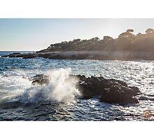 Waves Crashing on Rocks - Southern France Photographic Print