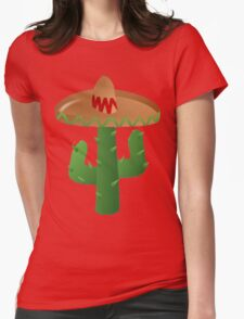 A CACTUS WITH A SOMBRERO HAT LADIES Womens Fitted T-Shirt