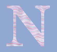 Initial N Rose Quartz And Serenity Pink Blue Wavy Lines by theartofvikki