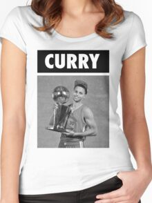Stephen Curry (Championship Trophy BW) Women's Fitted Scoop T-Shirt