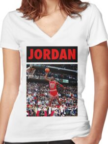 Michael Jordan (Dunk Red) Women's Fitted V-Neck T-Shirt