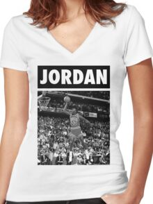 Michael Jordan (Dunk BW) Women's Fitted V-Neck T-Shirt