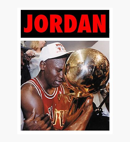 Michael Jordan (Championship Trophy Red) Photographic Print