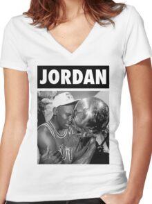 Michael Jordan (Championship Trophy BW) Women's Fitted V-Neck T-Shirt
