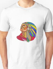 Native American Indian Chief Headdress Drawing T-Shirt