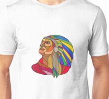 Native American Indian Chief Headdress Drawing Unisex T-Shirt