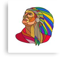 Native American Indian Chief Headdress Drawing Canvas Print