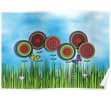 Whimsical Summer Meadow Flowers Butterflies Poster