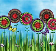 Whimsical Summer Meadow Flowers Butterflies by Artification